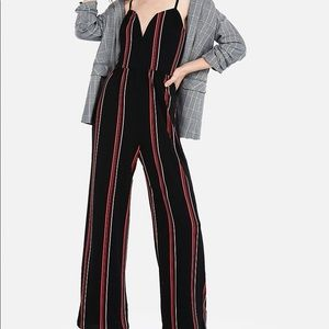 Express STRIPED V-WIRE CAMI JUMPSUIT